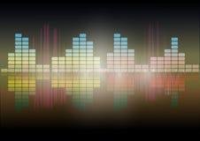 Wielo- koloru waveform technologii tła Cyfrowego wyrównywacza Audio technologii abstrakcjonistyczny Wektorowy wizerunek royalty ilustracja