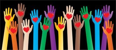Wielo- kulturalny pomaga ręki miłości pokój ilustracja wektor