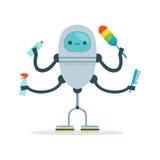 Wielo- orężna housemaid androidu charakteru cleaner wektoru ilustracja Obrazy Royalty Free