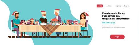 Wielo- pokolenia nowego roku wesoło bożych narodzeń rodzinni świętuje wakacyjni ludzie siedzi przy stołowym tradycyjnym obiadowym royalty ilustracja