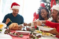 Wielo- pokolenie rodzina Cieszy się Bożenarodzeniowego posiłek W Domu Obraz Stock