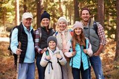 Wielo- pokolenie rodzina na podwyżce w lesie, grupowy portret obraz royalty free