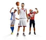 Wielo- sporta kolażu piłki nożnej futbolu amerykańskiego bascketball zdjęcia royalty free