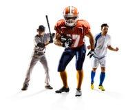 Wielo- sporta kolażu piłki nożnej futbolu amerykańskiego baseball fotografia royalty free