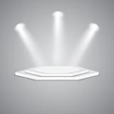 Wieloaspektowy podium z światłami reflektorów ilustracji