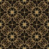 Wielobok gwiazdowej symetrii złocisty ciemny bezszwowy wzór ilustracja wektor