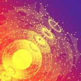 Wielobok sfer złączone linie i kropki abstrakcyjny tło zdjęcia royalty free