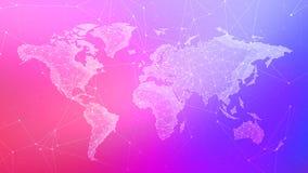 Wielobok światowa mapa na stubarwnym tle Zdjęcie Stock