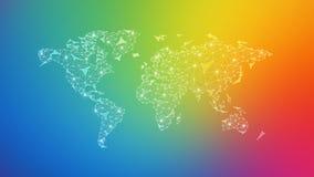 Wielobok światowa mapa na stubarwnym tle Zdjęcie Royalty Free