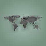 Wielobok światowa mapa na zielonym tle, ilustracja Zdjęcie Stock