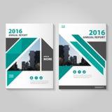 Wieloboka sześciokąta sprawozdania rocznego ulotki broszurki ulotki szablonu zielony czarny projekt, książkowej pokrywy układu pr ilustracji