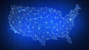 Wieloboka usa kraju mapa na blockchain hud sztandarze Zdjęcia Stock