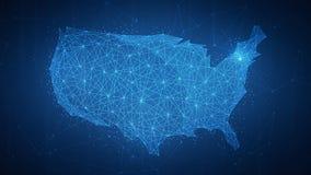 Wieloboka usa kraju mapa na blockchain hud sztandarze Obrazy Royalty Free