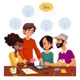 Wieloetniczna grupa młodzi kreatywnie ludzie brainstorming pomysły w biurze royalty ilustracja