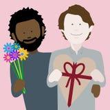 Wieloetniczna homoseksualna valentines para w miłości zdjęcia stock