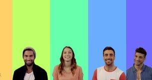 Wielokrotność ekran pokazuje szczęśliwym ludziom uśmiecha się zdjęcie wideo