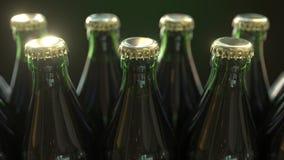 Wielokrotności zieleni butelki z złocistymi nakrętkami, w górę świadczenia 3 d ilustracja wektor