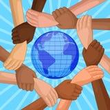 Wielokulturowe ręki wokoło kuli ziemskiej ilustracja wektor
