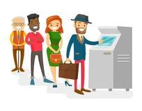 Wielokulturowi ludzie stoi w kolejce ATM Fotografia Royalty Free