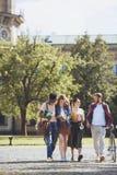 Wielokulturowi ucznie chodzi w parku Fotografia Stock