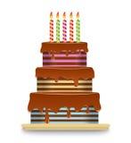Wielopoziomowy czekoladowy tort z świeczkami Fotografia Stock
