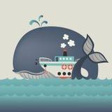 Wieloryb i steamship w błękitnym morzu Zdjęcia Royalty Free