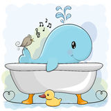 Wieloryb w łazience ilustracja wektor