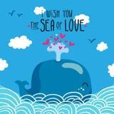 Wieloryb z fontanną serca Zdjęcie Stock