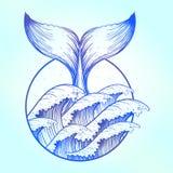 Wielorybi ogon w błękitnym morzu macha, boho tatuaż ilustracji