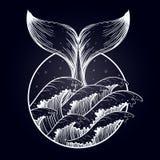 Wielorybi ogon w morzu macha, boho blackwork tatuaż royalty ilustracja