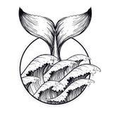 Wielorybi ogon w morzu macha, boho blackwork tatuaż Ocean kreskowej sztuki d ilustracja wektor