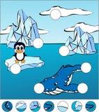Wielorybi zabójca i pingwin na lodowym floe Uzupełnia łamigłówkę i ilustracja wektor
