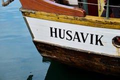 Wielorybia dopatrywanie łódź w Husavik zdjęcie royalty free