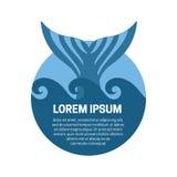 Wielorybia ogon etykietka royalty ilustracja