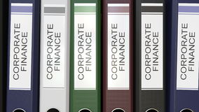 Wieloskładnikowe biurowe falcówki z Korporacyjnego finanse tekstem przylepiają etykietkę 3D rendering Obraz Royalty Free