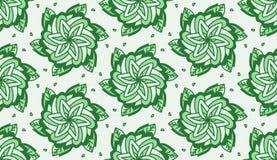 Wielostrzałowa zieleń Kwitnie z liścia Tileable tłem Obraz Stock