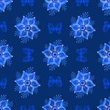 Wielostrzałowy zmrok - błękitny rocznika wzór Obraz Royalty Free