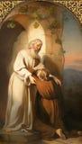 WIEN, ÖSTERREICH - 19. DEZEMBER 2016: Die Malerei des Szenencomebacks des verschwenderischen Sohns in Kirche kirche St. Laurenz Stockfotos