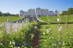 WIEN, ÖSTERREICH - 30. JULI 2014: Der Brunnen und der Garten des Belvederepalastes am Morgen Lizenzfreies Stockfoto