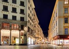 WIEN, ÖSTERREICH - 5. JUNI 2015: Eine Ansicht entlang Graben-Straße an Ni Lizenzfreie Stockbilder