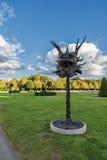 WIEN, ÖSTERREICH - 9. OKTOBER 2016: Belvedere-Palast und Garten mit Brunnen Besichtigungs-Gegenstand in Wien, Österreich statuen stockfotos