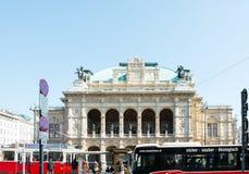 WIEN Österrike-April 19: huvudsaklig gata för gammal stad på April 19, 201 Arkivfoto