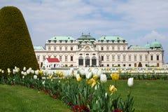 WIEN ÖSTERRIKE - APRIL 29th, 2017: Belvederen är ett historisk byggnadkomplex i Wien som består av två barocka slottar royaltyfria bilder