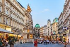 Wien Österrike - 19 Augusti, 2018: Graben en berömd gata i a arkivfoto
