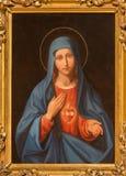 WIEN ÖSTERRIKE - DECEMBER 19, 2016: Målningen av hjärta av jungfruliga Mary i kyrklig kircheSt Laurenz Royaltyfri Fotografi