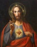 WIEN ÖSTERRIKE - DECEMBER 19, 2016: Målningen av hjärta av jungfruliga Mary i kyrklig kircheSt Laurenz Arkivfoto