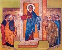 WIEN ÖSTERRIKE - DECEMBER 19, 2016: Symbolen av Jesus bland apostlarna på kanfasen i kyrkliga Brigitta Kirche Fotografering för Bildbyråer