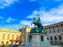 Wien Österrike - Januari 02, 2015: Wien Hofburg imperialistisk slott på dagen, Österrike Arkivfoto