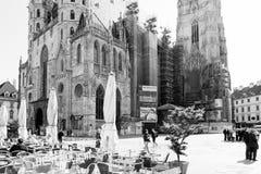 WIEN Österrike-Juli 3: Graben för turister på fötter gata i Vienn Arkivbild