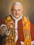 WIEN ÖSTERRIKE - JULI 30, 2014: Ståenden av St John XXIII i kyrkliga Karlskirche Charles Borromeo av Clemens Fuchs 2014 arkivbilder